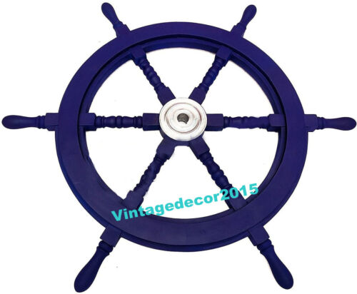 """24"""" Nautical Collectible Wooden Ship Wheel Boat Steering Wall Decor"""