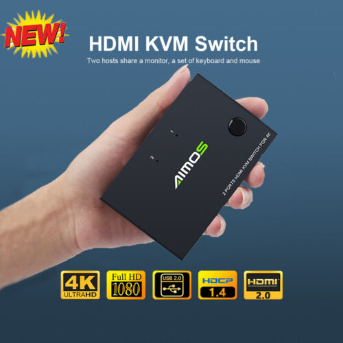 AIMOS HDMI KVM Switcher 4K 2 in 1 out Keyboard Mouse USB Shared Controller R2G4