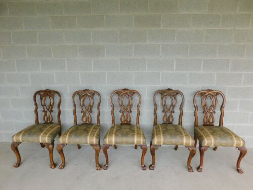 Chippendale Style Mahogany Ball & Claw Foot Set of 5 Side Chairs