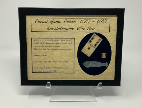 Revolutionary War Era Game Pieces Domino, Stamp Act Dice, & Poker Chip with CaseOriginal Period Items - 10951