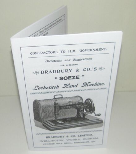 Bradbury Sewing Machine Soeze Type Instruction manual reproduction