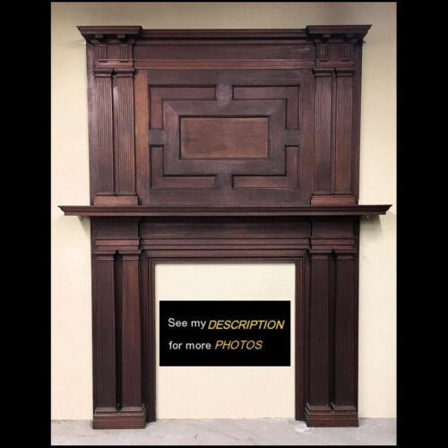 Antique Turn of the Century Classical Revival Mahogany Fireplace MANTLE