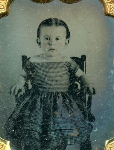 Little Girl in Boat Neck Dress,Vintage Antique Ambrotype Photo