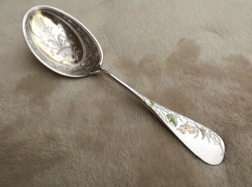 """Butterfly by Whiting 7 5/8"""" Sterling serving spoon mono BN outstanding vermeil"""