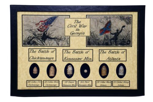 The Civil War Battles in Georgia Bullets with Glass Topped Display Case and COA Bullets - 103996