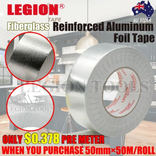 Reinforced Aluminium Foil Tape Adhesive Sealing Heating Duct Silver Repairs 50mm