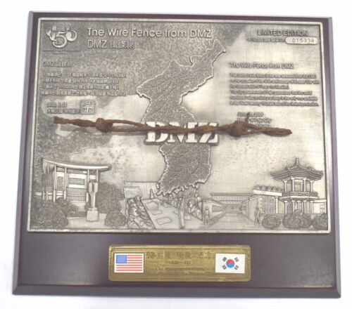 The wire fence from DMZ military vintage plaque 50th anniversary of Korean war