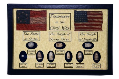 The Civil War Battles in Tennessee Bullets with Glass Topped Display Case & COA Bullets - 103996