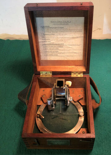 WW2 Era Cased Azimuth Circle Type No. 4 with Instructions Ref No 6B/890