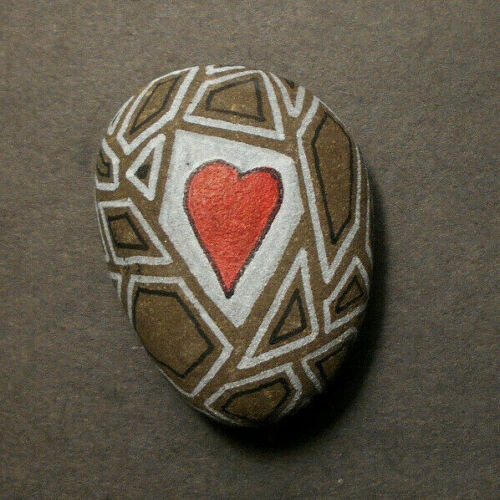 Hand Painted Rock Art-HEART Puzzle w Geometric Shapes- indoor or outdoor Stone