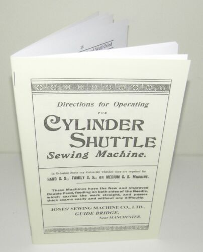 Jones sewing machine Instructions with parts lists and diagrams Reproduction