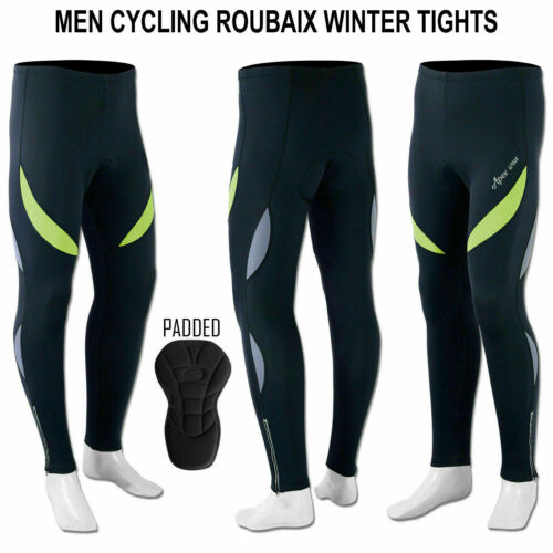 Mens Cycling Tights Winter Thermal Padded Pants Cycle Long Trouser