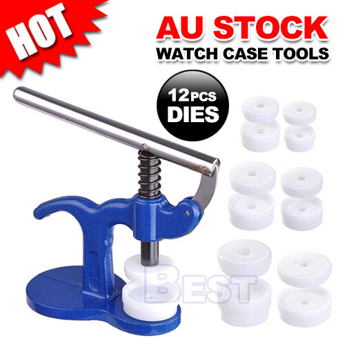 New Watch Back Press Opener Kit Case Closer Watchmaker Replacement Tool 12 Dies