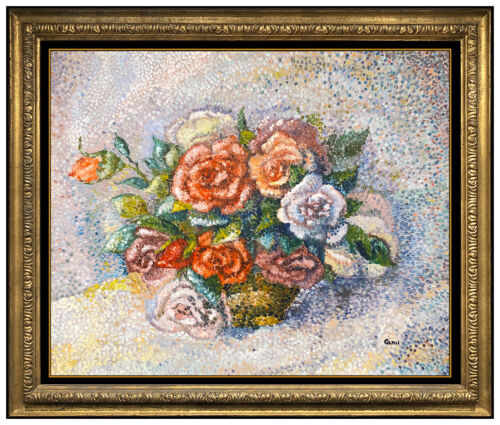 Yvonne Canu Original Oil Painting on Board Signed Flowers Floral Still Life Art