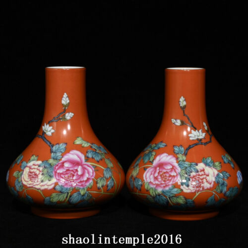 a pair old  China  the Qing dynasty  Alum red  Pastel  Flower pattern  bottle