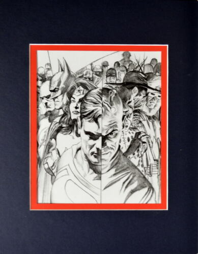 JUSTICE HEREOS & VILLAINS PRINT PROFESSIONALLY MATTED Alex Ross Art