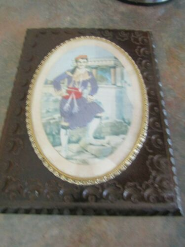 Antique Wooden Framed With Glass Tapestry Of A Crete Man In His National Dress