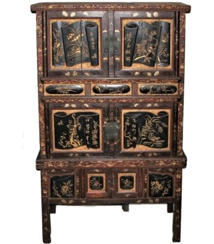 Antique Fine Chinese Carved Wedding Armoire Storage Cabinet