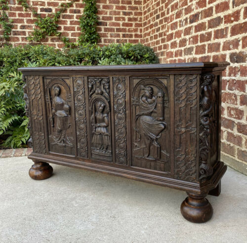 Antique French Trunk Blanket Box Coffer Chest Renaissance Revival Carved 18th C.
