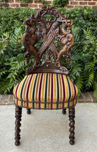 Antique French Chair Barley Twist Black Forest Carved Oak Upholstered 19th C