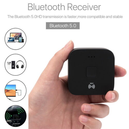 Bluetooth 5.0 Receiver Wireless 3.5mm AUX NFC to 2RCA Audio Stereo Adapter