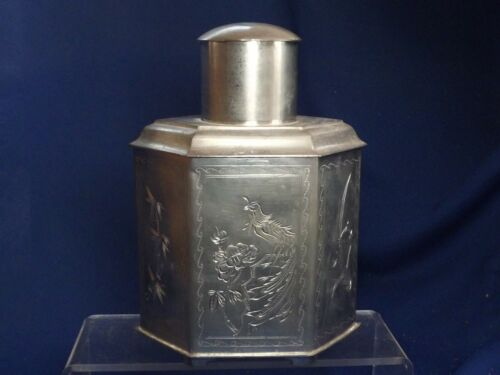 Vintage Chinese Pewter Hexagon Tea Caddy Etched Dragon ,Phoenix, Bamboo &Flowers