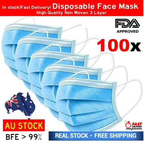 Protective Face Mask 3 Ply Layer Mouth Masks Anti Bacterial Filter Cover 100 PCS