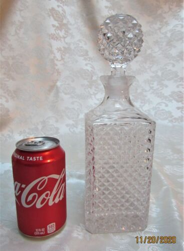 Classy Diamond Cut Glass Whiskey Decanter with Matching Stopper * EUC