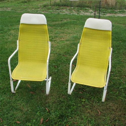 Vintage YELLOW Lloyd Flanders Loom Wicker USA-Made Spring Bounce Patio Chairs