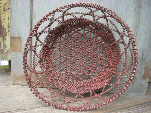 "Antique Vintage Coiled Tin Tramp Art Basket Old Red Paint 13"" x 5"""