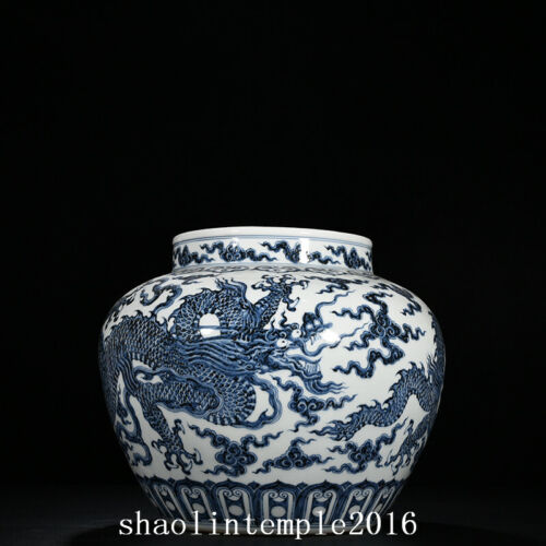"""12"""" ancient  China  the Ming dynasty  Blue and white  Cloud dragon pattern  pot"""