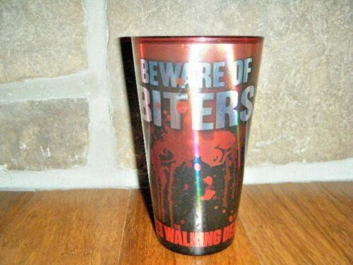 AMC THE WALKING DEAD BEWARE OF BITERS ZOMBIE RED TINT PINT GLASS 16 OZ COOL HTF!