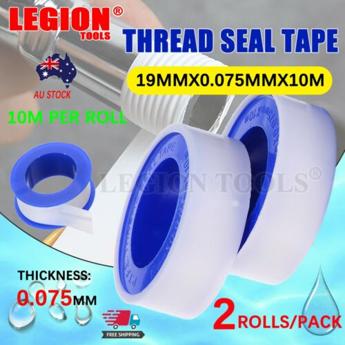 TEFLON TAPE PLUMBERS THREAD SEAL TAPE PTFE 19MMX10 M/Roll  2 Roll/PACK