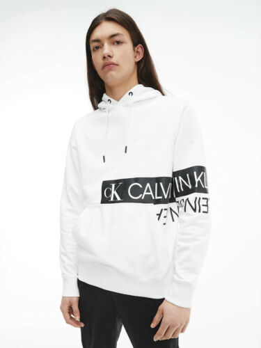 BNWT CK Calvin Klein Jeans Blocking hooded sweatshirt Jumper Hoodie White 2021