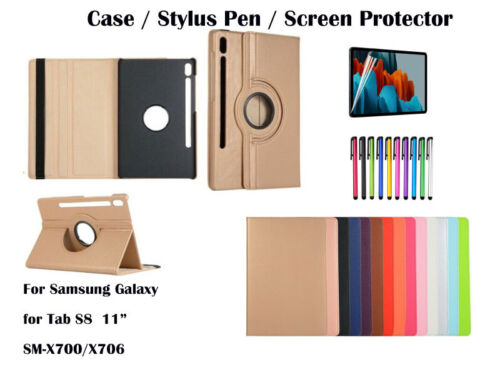 """360°Rotate Litchi Grain PU Leather Cover Case for Samsung Galaxy Tab S7 11"""""""