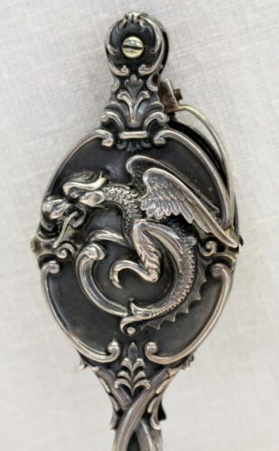 antique Sterling Silver Lorgnette EMBOSSED DRAGON High Relief ~ Needs Repair