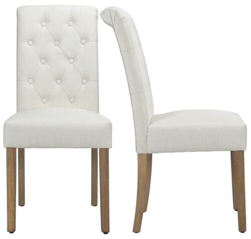 2pcs Fabric Upholstered Dining Chairs High Back Padded Dining Home Restaurants