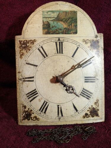 early 1900 SMALLER ANTIQUE WALL CLOCK w PRIMITIVE PAINTED DIAL GERMANY GERMAN