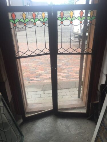 Sg 1489 Matched Pair Antique Stainglass Leaded Glass Cabinet Doors Oak Frame