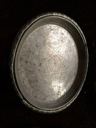 VERY RARE Antique Silver Plated Tea Tray Footed Rustic Engraved Moroccan Star