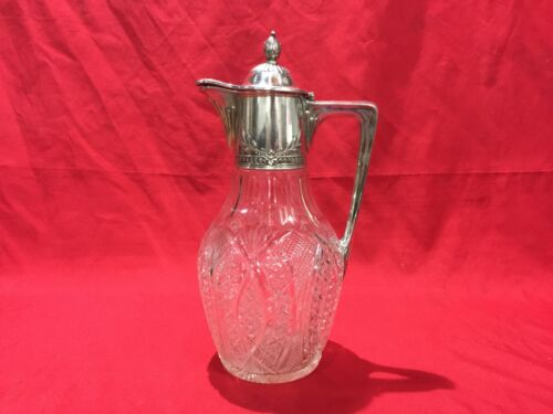 Imperial Russian Silver Mounted Claret Jug 27.4 cm 800 Silver & Cut Glass 1908