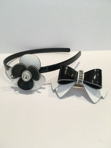 Hairband And Clip - Black & White Resin
