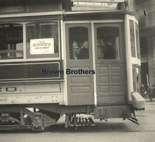 1900s Historic NYC Fire Prevention Day Trolley Glass Photo Camera Negative - BB