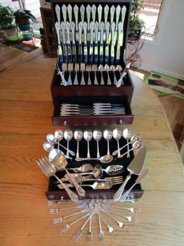 135P DINNER SZ+LUNCH WALLACE ROSE POINT STERLING FLATWARE SET-S-12+15 SERVERS***