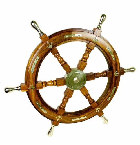 """Nautical Brass Anchor 24"""" Antique Wooden Ship's Wheel Boat Steering Wall Decor"""