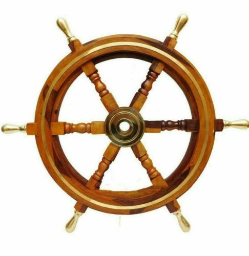 """18"""" Nautical Antique Brass Ring Wooden Ship Steering Wheel Vintage Wall Decor"""