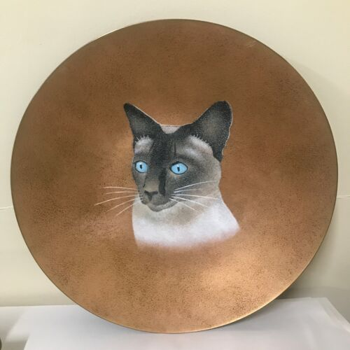 LILY ALEXANDER  Mid Century Enamel Copper Siamese Cat Plate 1950's CALIFORNIA