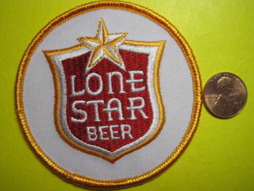 BEER PATCH LONE STAR BEER IRON ON / SEW ON SMALL CIRCLE SIZE 3 INCH TEXAS BREW!!
