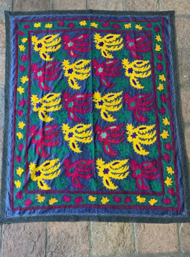 Beautuful Antique Kazakh Mongolian silk Embrodery Suzani Excellent