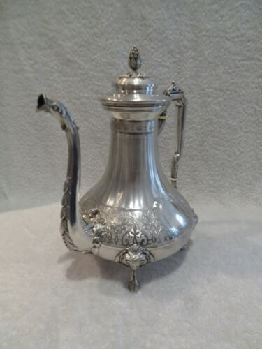 Magnificent late 19th c French 950 guilloche silver coffee pot ram's head hoofs